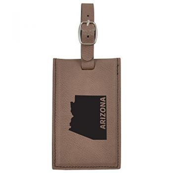 Arizona-State Outline-Leatherette Luggage Tag -Brown