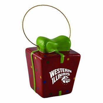 Western Illinois University-3D Ceramic Gift Box Ornament