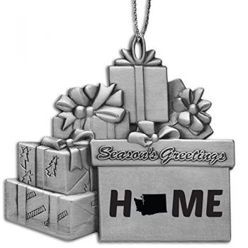 Washington-State Outline-Home-Pewter Gift Package Ornament-Silver