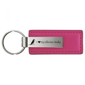 Stitched Leather and Metal Keychain  - I Love My Siberian Huskie