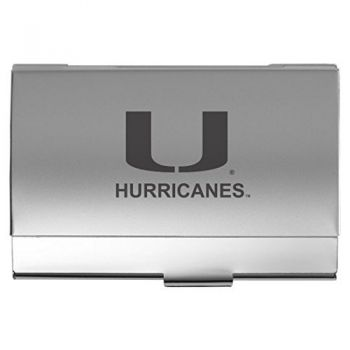 University of Miami - Two-Tone Business Card Holder - Silver
