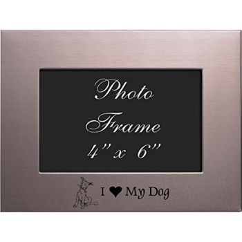 4x6 Brushed Metal Picture Frame-I love my Dog-Silver