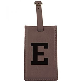 Eastern Michigan University-Leatherette Luggage Tag-Brown