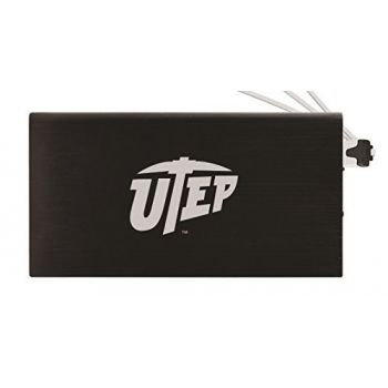 8000 mAh Portable Cell Phone Charger-The University of Texas at El Paso -Black