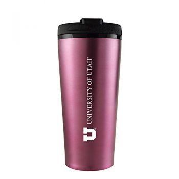 University of Utah-16 oz. Travel Mug Tumbler-Pink