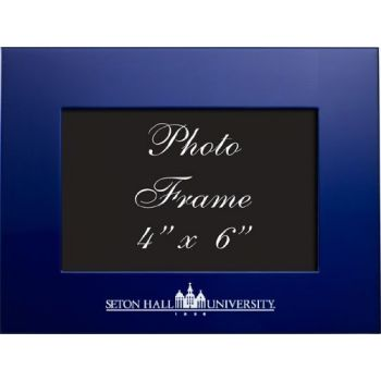 Seton Hall University - 4x6 Brushed Metal Picture Frame - Blue