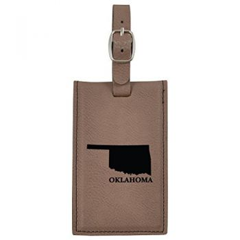 Oklahoma-State Outline-Leatherette Luggage Tag -Brown