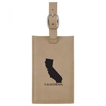 California-State Outline-Leatherette Luggage Tag -Tan