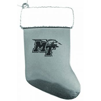 Middle Tennessee State University - Chirstmas Holiday Stocking Ornament - Silver
