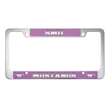 Southern Methodist University -Metal License Plate Frame-Pink