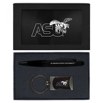 Alabama State University -Executive Twist Action Ballpoint Pen Stylus and Gunmetal Key Tag Gift Set-Black