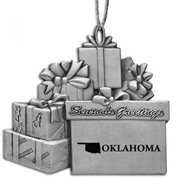 Oklahoma-State Outline-Pewter Gift Package Ornament-Silver