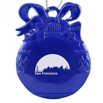 Pewter Christmas Bulb Ornament - San Francisco City Skyline