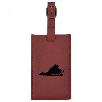 Virginia-State Outline-Leatherette Luggage Tag -Burgundy