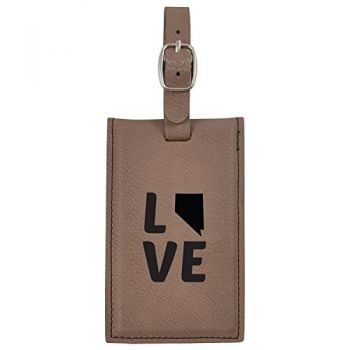 Nevada-State Outline-Love-Leatherette Luggage Tag -Brown