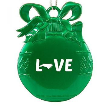 North Carolina-State Outline-Love-Christmas Tree Ornament-Green