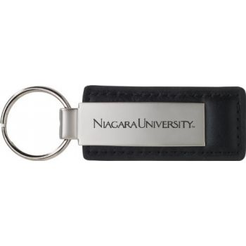 Niagara University - Leather and Metal Keychain - Black