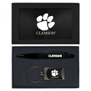 Clemson University -Executive Twist Action Ballpoint Pen Stylus and Gunmetal Key Tag Gift Set-Black