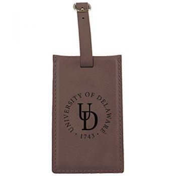 University of Delaware -Leatherette Luggage Tag-Brown