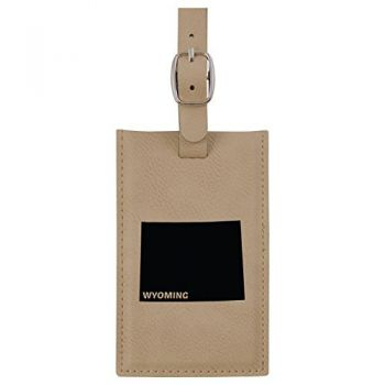 Wyoming-State Outline-Leatherette Luggage Tag -Tan