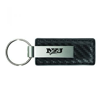 Niagara University-Carbon Fiber Leather and Metal Key Tag-Grey