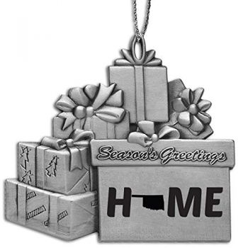 Oklahoma-State Outline-Home-Pewter Gift Package Ornament-Silver
