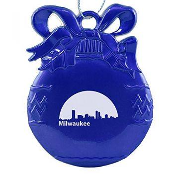 Pewter Christmas Bulb Ornament - Milwaukee City Skyline