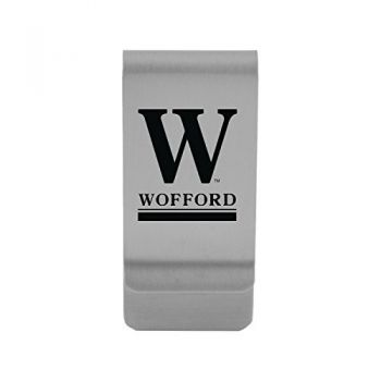 Wofford College|Money Clip with Contemporary Metals Finish|Solid Brass|High Tension Clip to Securely Hold Cash, Cards and ID's|Gold