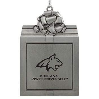 Montana State University -Pewter Christmas Holiday Present Ornament-Silver