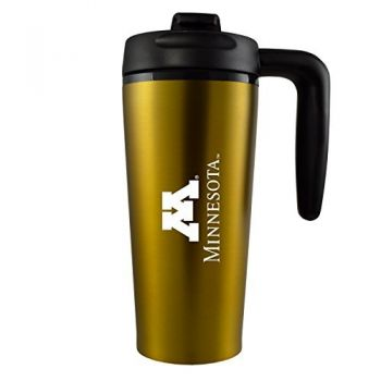 University of Minnesota -16 oz. Travel Mug Tumbler with Handle-Gold