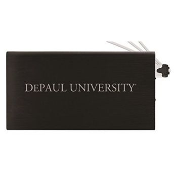 8000 mAh Portable Cell Phone Charger-DePaul University -Black