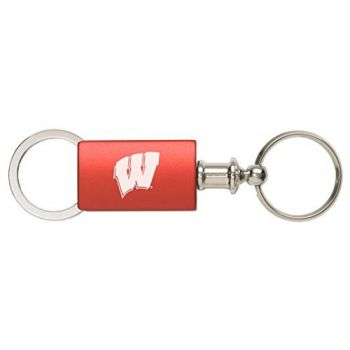 University of Wisconsin - Anodized Aluminum Valet Key Tag - Red
