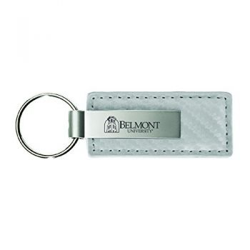 Belmont University-Carbon Fiber Leather and Metal Key Tag-White