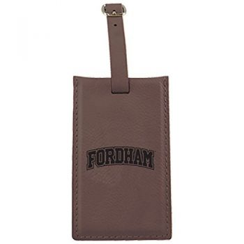 Fordham University-Leatherette Luggage Tag-Brown