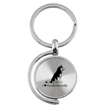 Spinner Round Keychain  - I Love My Siberian Huskie