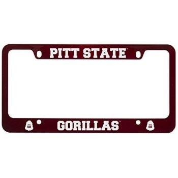 Pittsburg State University -Metal License Plate Frame-Red