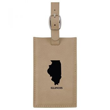 Illinois-State Outline-Leatherette Luggage Tag -Tan
