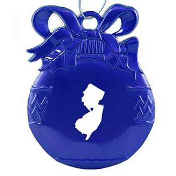 Pewter Christmas Bulb Ornament - I Heart New Jersey - I Heart New Jersey