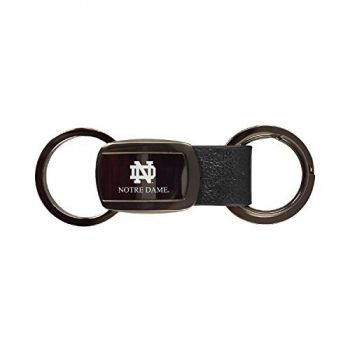 University of Notre Dame-3 Ring Leather Key Tag-Black