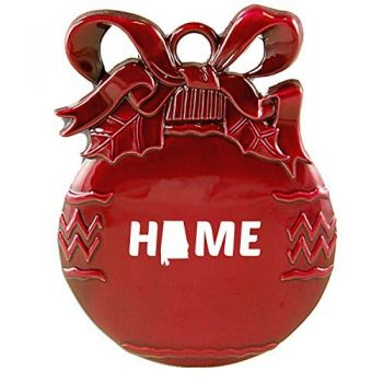 Alabama-State Outline-Home-Christmas Tree Ornament-Red