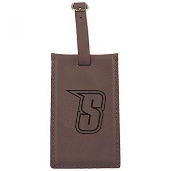 Siena College-Leatherette Luggage Tag-Brown
