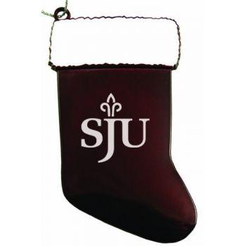 Saint Joseph's University - Christmas Holiday Stocking Ornament - Burgundy