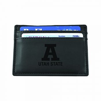Utah State University-European Money Clip Wallet-Black