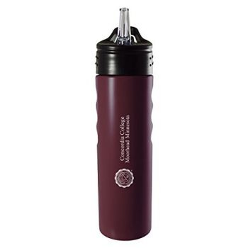 Concordia College-24oz. Stainless Steel Grip Water Bottle with Straw-Burgundy