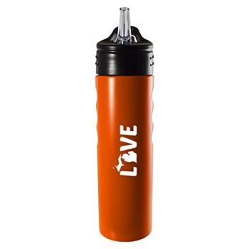 Michigan-State Outline-Love-Stainless Steel Grip Water Bottle with Straw-Orange