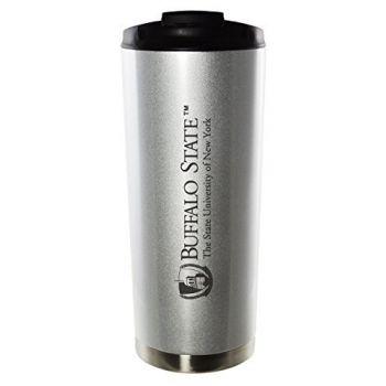 Buffalo State, State University of New York-16oz. Stainless Steel Vacuum Insulated Travel Mug Tumbler-Silver