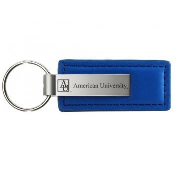 American University - Leather and Metal Keychain - Blue
