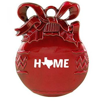 Texas-State Outline-Home-Christmas Tree Ornament-Red
