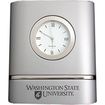 Washington State University- Two-Toned Desk Clock -Silver