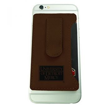 University of Detroit Mercy-Leatherette Cell Phone Card Holder-Brown